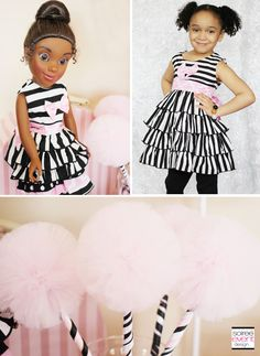 | Trend Alert:  Dollhouse Tea Party | http://soiree-eventdesign.com  Matching outfits for dolls and girls by Ann Loren and tulle wands by Titi's Tutus