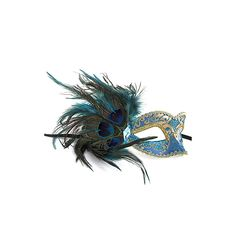 """HALLOWEEN TIME! Jeweled peacock feather accent masquerade mask Black silk ribbon ties Approx: 6"""" wide, 6"""" tall Hand-made"""