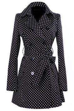 Black Polka Dot Bow Double Breasted Fashion Coat