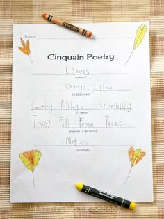 Fall Cinquain Poetry for kids is the perfect writing prompt for Autumn! FREE Printable for teachers and homeschool from Still Playing School