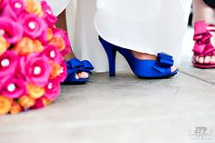 blue wedding shoes, pink wedding shoes