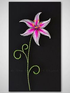 String art The Stargazer Lily. String art by TheStringArtStudio Trendy Nail Art, New Nail Art, Cool Nail Art, Nail String Art, String Crafts, Resin Crafts, Paper Embroidery, Japanese Embroidery, Flower Embroidery