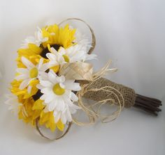 sunflower and daisy wedding bouquets | Sunflower Daisies Bridal Bouquet Yellow White Silk Flowers Bride ...