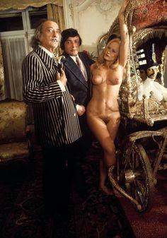 Catalan Surrealist artist Salvador Dalí in 1973 with Jean Gaumy at Hotel Meurice, Paris.