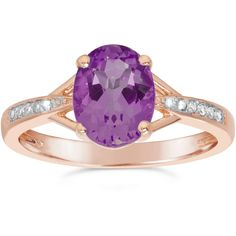 Womens Diamond Accent Purple Amethyst Gold Over Silver Cocktail Ring ($156) ❤ liked on Polyvore featuring jewelry, rings, yellow gold amethyst ring, purple cocktail ring, amethyst rings, amethyst gold ring and gold jewellery