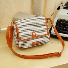 Classical college check girls messenger bags