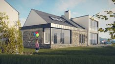 lough eske   Donegal   McCabe Architects Self Build Houses, Cottage Design, Donegal, Open Up, Bungalow, Facade, Building A House, House Plans, Solar