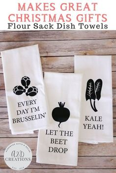 These custom designed, 100% deluxe cotton flour sack towels are the perfect gift for bridal showers, housewarming, Christmas, or birthdays. Start shopping - these towels will be the perfect addition to any kitchen! #etsyseller #etsygifts #floursackteatowels #floursacktowel #kitchentowel #christmasgifts #housewarminggift #hostessgift #whiteelephantgifts #gift #kitchengifts