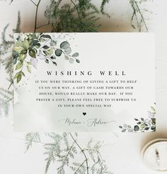 Greenery Wishing Well Card Wedding Wishes, Wedding Signs, Boho Wedding, Wedding Cards, Wedding Flowers, Wishing Well Poems, Wishing Well Wedding, Engagement Party Decorations, Flower Decorations