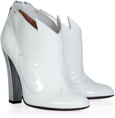 Laurence Dacade White and Silver Patent Leather Booties on shopstyle.co.uk