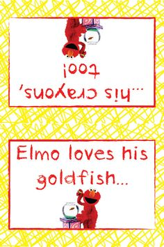 Elmo's World Goldfish & Crayons Favor Bag Fold by PJsPrintables