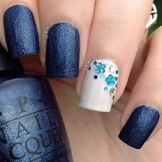 Navy Blue and White Nails With Tiffany Blue Rinestone Flowers