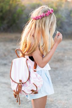 Floral headband and stripped backpack