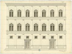 Palazzo Rucellai, diagram of the facade, Florence, Alberti Architecture Drawings, Classical Architecture, Facade Architecture, Historical Architecture, Michelangelo, Palazzo, Leon Battista Alberti, Florence, Victorian Buildings