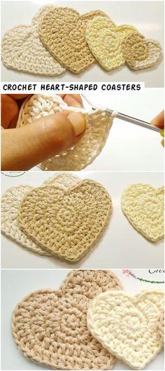 Crochet Heart-Shaped Coasters – Crochetopedia - Home & DIY Cute Crochet, Crochet Crafts, Easy Crochet, Crochet Projects, Knit Crochet, Crochet Owls, Knitting Patterns, Crochet Patterns, Crochet Ideas
