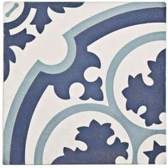 Merola Tile Cemento Queen Mary Sky Encaustic in. Cement Handmade Floor and Wall Tile Bathroom Floor Tiles, Wall Tiles, Tile Floor, Pool Bathroom, Mandala, Thing 1, Handmade Tiles, Queen Mary, Decorative Tile