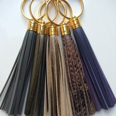 Leather Tassel Keychains - Gray, Gunmetal, Metallic, Brown Snakeskin, Plum
