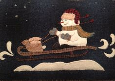 """Wool appliqué pattern called """"Bunny Slope"""" finished 11""""x 16""""pillow"""