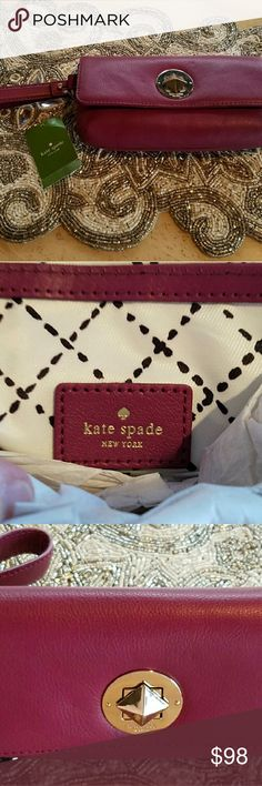 NWT Kate Spade Chrystie Street Clutch /Wristlet Brand New Kate Spade Chrystie Street Clutch in Moodyplum. Soft Silky lining inside. Great for Carrying your Cell Phone and Wallet.  It is a Dark Red Plum Color. Kate Spade Bags Clutches & Wristlets