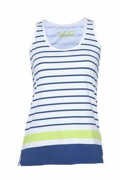 Pure Lime Tennis Women's Stripe Tank - White/Limoges/Brite Lime