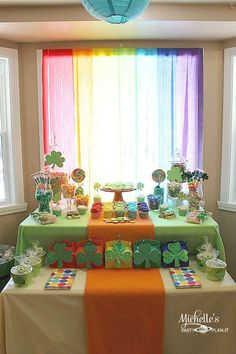 Cute St. Patrick's Day party decor - I like the crepe in front of the window! Cheap and beautiful!