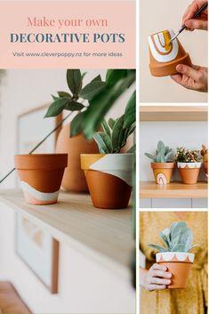 Painted Plant Pots, Painted Flower Pots, Painting Terracotta Pots, Terracotta Flower Pots, Diy Inspiration, Cute Diys, Ideias Diy, Diy Garden, Garden Projects