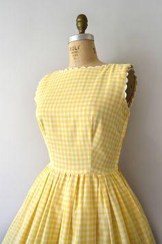 Vintage 1950s Dress 50s LANZ Yellow Gingham Cotton Sundress