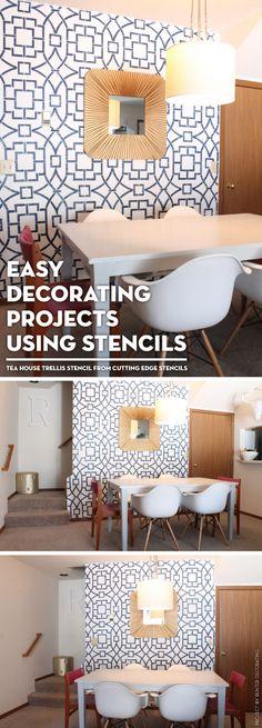 A DIY stenciled accent wall using the Tea House Trellis wall stencil. http://www.cuttingedgestencils.com/tea-house-trellis-allover-stencil-pattern.html?utm_source=JCG&utm_medium=Pinterest%20-%20comments&utm_campaign=Tea%20House%20Trellis%20Allover%20Stencil