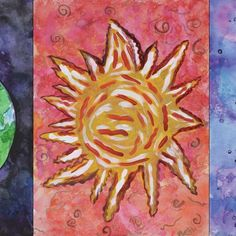 Be sure to stop by Art In The PARC at Duke Energy Corporate Office in Downtown St. Pete from 3 - 8 PM today for your chance to meet the Inspired Artists, hear the Inspired Choir sing, mix, mingle, and enjoy refreshments. There is metered street parking and the Sundial Garage is nearby and charges a small fee.  This triptych is called Earth, Fire, Inspire by Beth N. an artist at the Inspired Artist Studios @ PARC 🌎🌞🌛