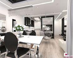 Aranżacje wnętrz - Salon: Mieszkanie w Trójmieście - Średni salon z jadalnią, styl glamour - CUBE Interior Design. Przeglądaj, dodawaj i zapisuj najlepsze zdjęcia, pomysły i inspiracje designerskie. W bazie mamy już prawie milion fotografii!