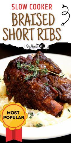 Braising Ribs Recipe, Slow Cooker Ribs Recipe, Beef Ribs Recipe, Short Ribs Slow Cooker, Beef Ribs Pressure Cooker, Slow Cooker Beef Roast, Beef Ribs Slow Cooker, Best Short Rib Recipe, Short Rib Recipes Crockpot