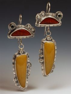 Susan Skinner | Sterling silver, apple coral, turquoise, and glass eye earrings.