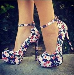 Pink, magenta, green, & white floral pattern on black platform heels