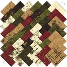 "Moda Through the Winter Woods Christmas Charm Pack 42 5"" Cotton Quilt Squares #ModaFabrics"
