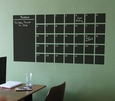 A Chalkboard Calender Wall Decal with Extra Note Panel & Chalkboard Wall Calendar DIY | Pinterest | Chalkboard wall calendars ...