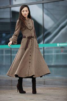 Women's Babyhclub Full-Length Wool Blend Jacket Winderbreaker Long ...