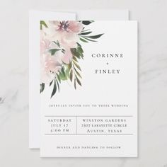 Chic and simple typography design, wedding invitation that features watercolor floral bouquets in shades of mauve with flowing foliage. Backing color shown in mauve chalk, can be customized. Size: x Color: Matte. Botanical Wedding Invitations, Wedding Invitation Wording, Invites, Event Invitations, Floral Bouquets, Wedding Bouquets, Wedding Themes, Wedding Venues, Wedding Ideas