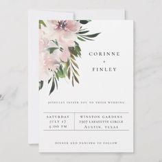 Dusty Mauve Botanical Wedding Invitation | Zazzle.com