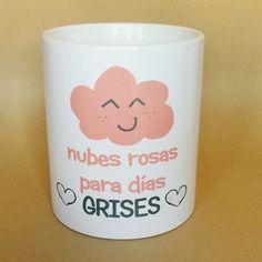 taza nubes rosas para dias grises apta para el uso de lavavajillas y microondas http://www.lapuertafalsaonline.com/categoria-producto/tazas/