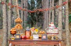 dessert table - photo by Sarah and Ben Photography http://ruffledblog.com/fantastic-mr-fox-wedding-inspiration