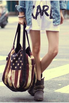 new grunge: t-shirt dress and a denim shirt, boots and a vintage-style bag.