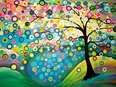 This Large Abstract Tree Painting Measures 24 high by 36  wide It is Bright, Colorful and Unique. This will Brighten Up any Room!!! Painting has 1 and 1/2 inch Gallery Wrapped sides, that are painted. Painting is an Original Work of art Signed and Dated by Artist    Painting has been sealed to preserve and protect.    Titled, Reflection    Painting will be carefully packaged and shipped