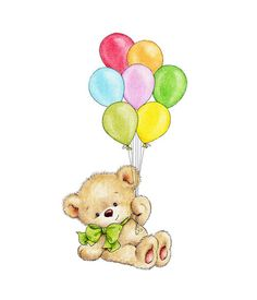 Teddy Bear with Balloons Nursery Print Children Wall Decor