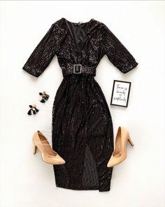 Rochie eleganta midi neagra cu paiete si cordon in talie - Rochii - Rochii banchet Peplum, Cold Shoulder Dress, Satin, Casual, Dresses, Fashion, Tulle, Vestidos, Moda