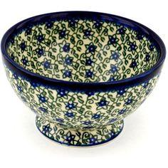 Polish Pottery 5-inch Bowl with Pedestal   Boleslawiec Stoneware   Polmedia H4346B   Polmedia