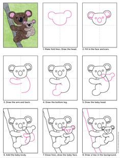 Easy Drawings Draw a Koala Bear · Art Projects for Kids - The only thing cuter than a koala is a koala and a baby. This koala drawing may look pretty detailed, but it's really just one shape drawn in two sizes. Drawing For Kids, Art For Kids, Children Drawing, Bear Drawing, Art D'ours, Classe D'art, Directed Drawing, Bear Art, Aboriginal Art