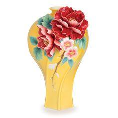 Franz Porcelain Collection Peony Blossom Sculptured Porcelain Large Vase