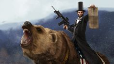 Abe Lincoln Riding a Grizzly by SharpWriter.deviantart.com on @deviantART