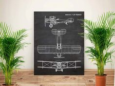 Plane art, Aircraft Bristol Fighter, Aircraft art, Aeroplane art,Chalkboard flying art,Air Force,Aircraft decor,gift for men,PRINTABLE 11x14 by GBPrintable on Etsy