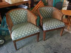 Just In...Vintage barrel-back chairs with wicker sides - set of 2 - SOLD